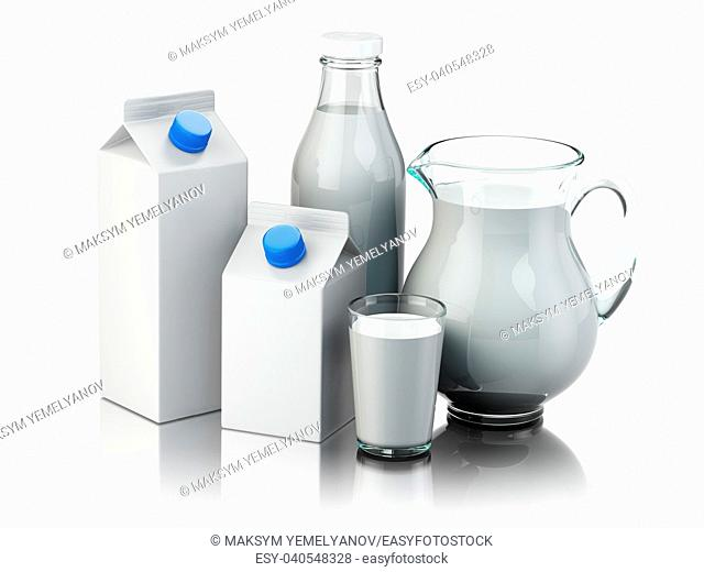Milk. Glass jug, glass, bottle and carton packs with milk isolated on white. 3d illustration