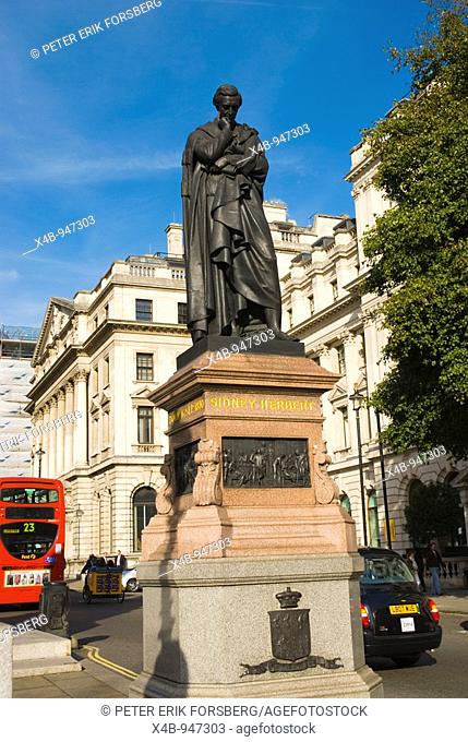 Statue of Sidney Herbert by John Bell at Waterloo Place in central London England UK