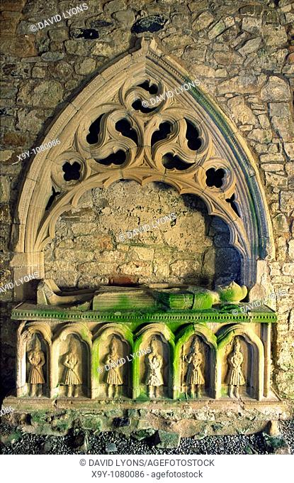 Dungiven Priory  An armed gallowglass soldier stands guard on the mediaeval tomb of Cooey na Gall O'Cahan  County Derry, Ireland