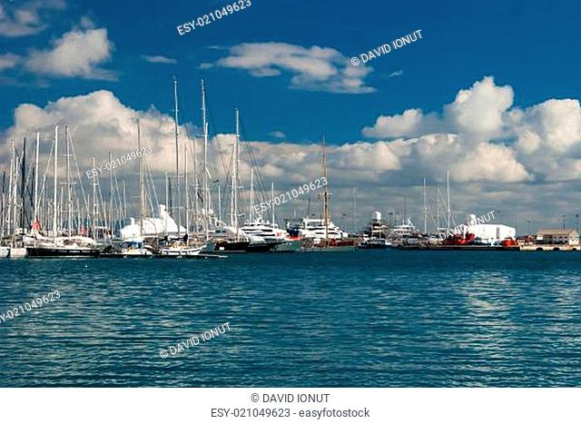 Group of boats on a sunny day