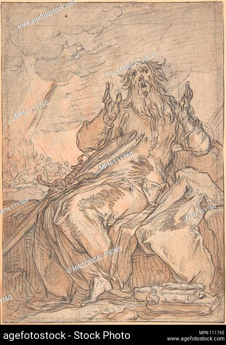 Saint Paul Seated, with his Conversion in the Background; Verso: Figure Sketch. Artist: Abraham Bloemaert (Netherlandish