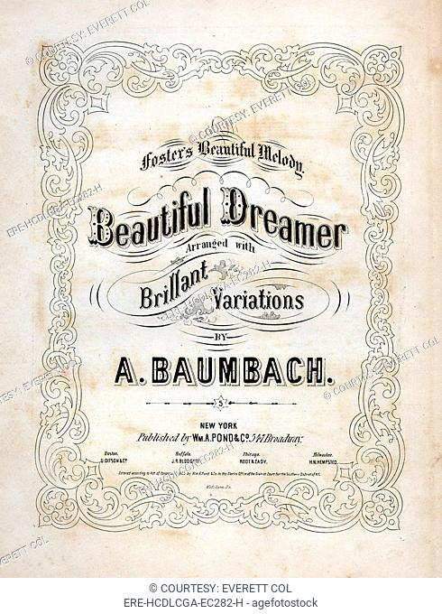Beautiful Dreamer, by Stephen Foster, arranged by A. Baumbach, sheet music title page, 1864