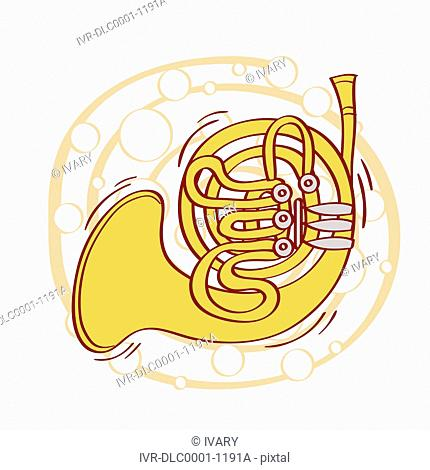 Illustration of French Horn against white background