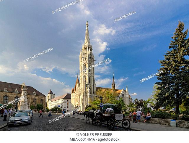 Szentharomsag ter (Trinity square) with pest pillar, Hilton hotel, Matthias's church and cab, Hungarian, Budapest