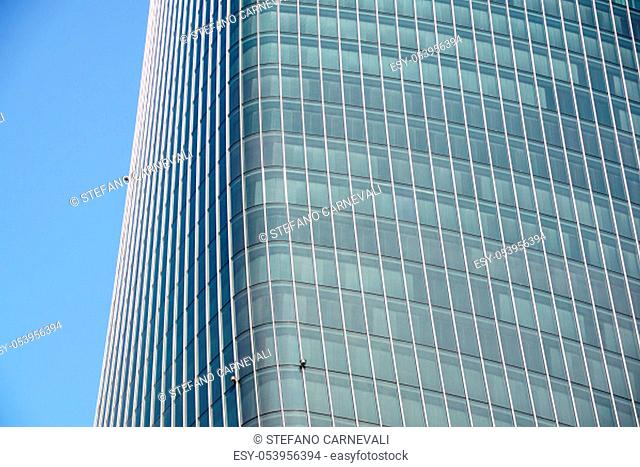 CITYLIFE, MILAN, ITALY - JANUARY 13, 2019 - Allianz Tower designed by the Architect Isozaki is one of the symbols of modernity and renovation of the city of...
