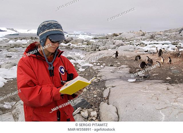Antarctica, Antarctic Peninsula, Lemaire Channel, Petermann Island, Scientist studying penguins