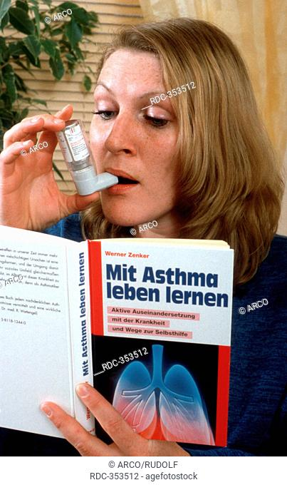 Young woman, sufferer from asthma, reading book about living with asthma, asthma attack, using aspirator, asthma inhaler, ventilatory support, inhaling