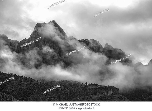 Storm clouds and fog pass through Zion National Park, Utah