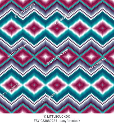 Abstract seamless ethnic ornament Zigzags, diamonds Colorful backdround