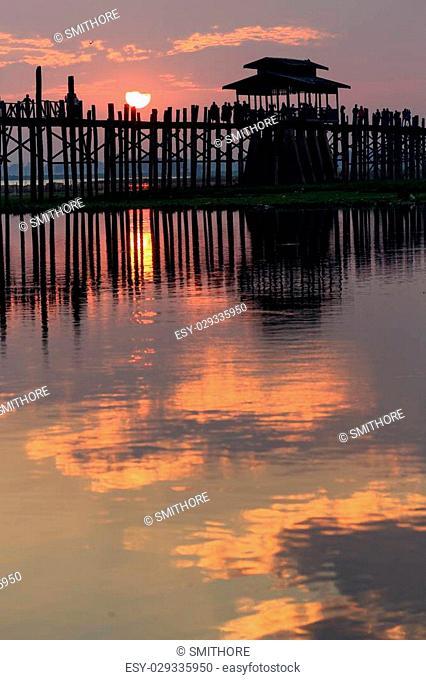 U bein wooden teck bridge at sunset in Amarapura, Myanmar (Burma)