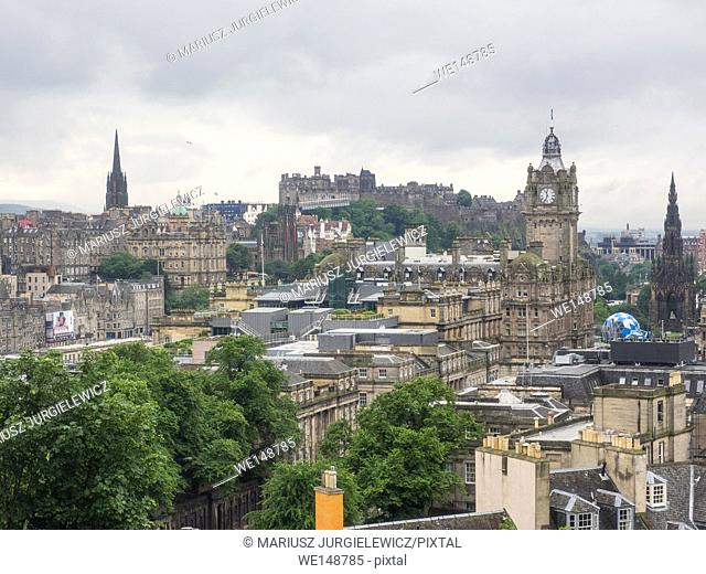 View of Old Town in Edinburgh from Calton Hill