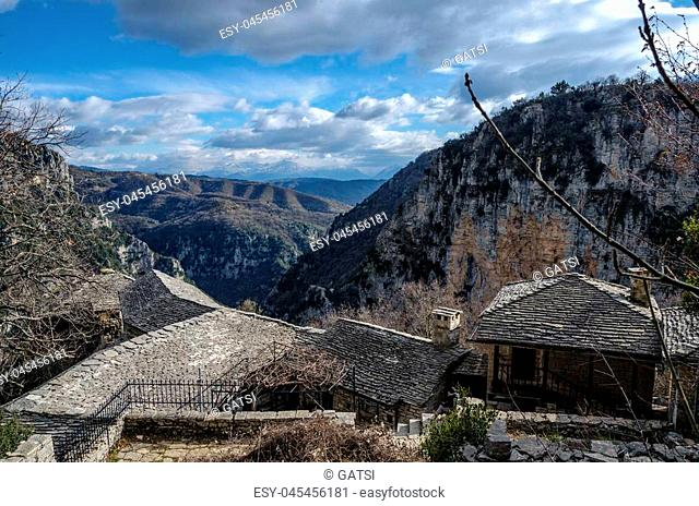The impressive Vikos gorge in the Zagoria region, Western Greece, the deepest in Europe, with some ruins of a monk house