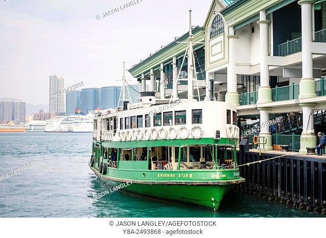 Star Ferry boat at Central Ferry Pier, Central District, Hong Kong Island, Hong Kong, China