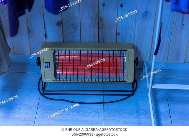 electric heater in a shop, Valencia, Spain