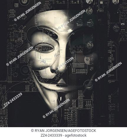 Digital artwork on the face of the hactivist group Anonymous watching encrypted personal data flow from our computers and digital devices directly to the NSA