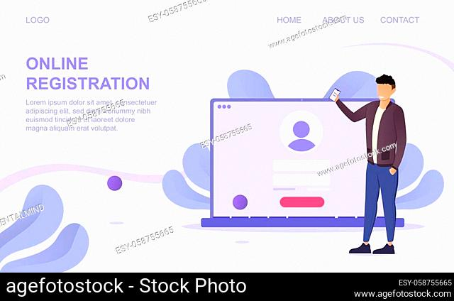 Online Registration page template showing a laptop computer with a sign in screen and man signing in, colored vector illustration