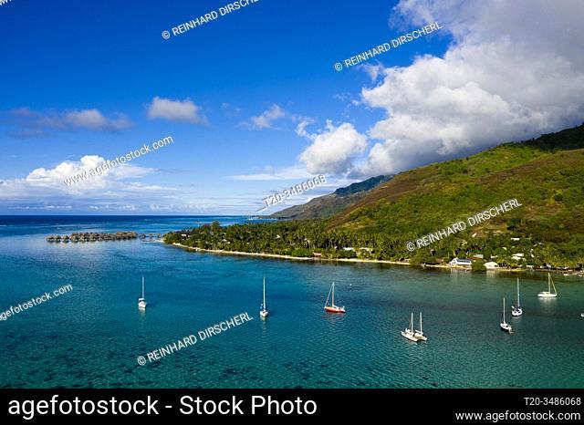 Aerial View of Opunohu Bay, Moorea, French Polynesia
