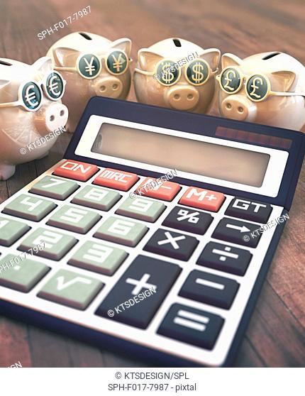 Calculator with piggy banks and dollar symbols, illustration