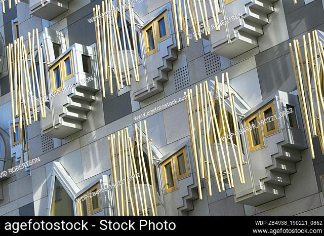 Scotland, Edinburgh. The Scottish Parliament Building at Holyrood. The windows of the offices of the Members of the Scottish Parliament