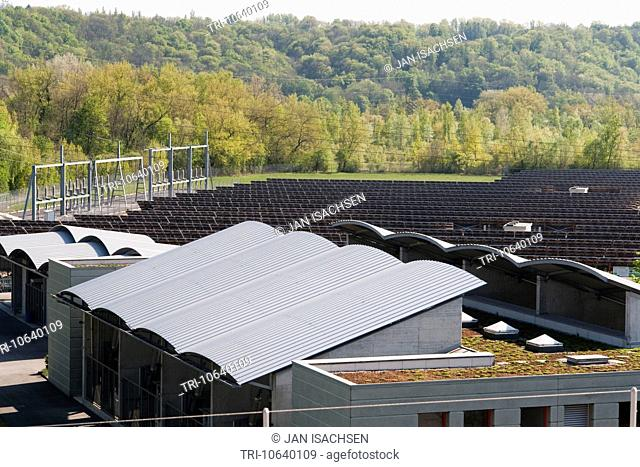 The SIG solar panel electric energy plant, Verbois, Geneva, Switzerland