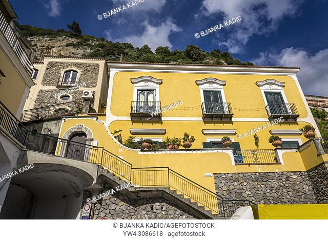 Positano, a cliffside village, Typical brightly painted house, Amalfi coast, Italy