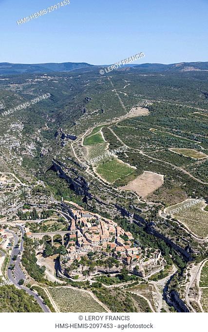 France, Herault, Minerve, labelled Les Plus Beaux Villages de France (The Most Beautiful Villages of France), the village and la Montagne Noire (aerial view)