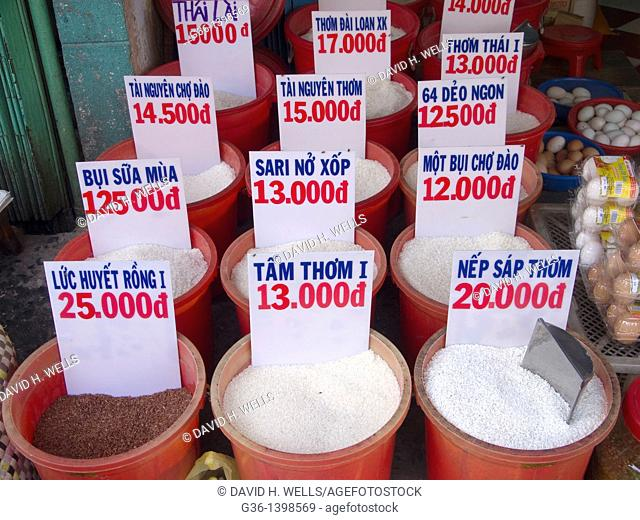 Rice for sale in a market in Ho Chi Minh City, Vietnam