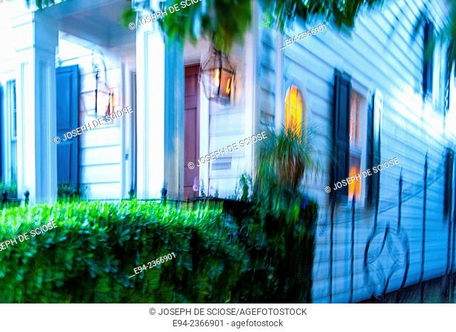 Blurry shot of a historic home in Charleston South Carolina