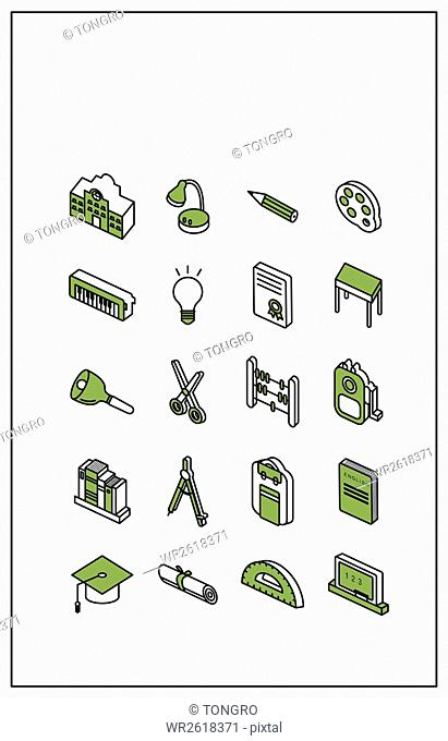 Icons related to school supplies