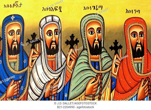Holy men on a batik, Ethiopia