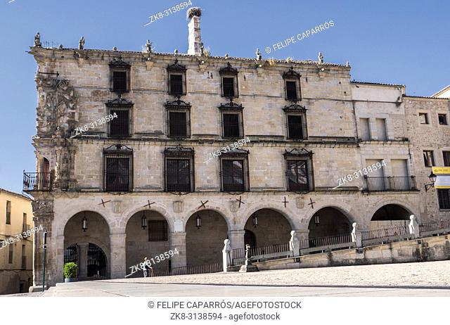 Trujillo, Spain - July 14, 2018: House - Palace of the Marquess of the Conquest, It was built in the beginning of 1560 by the master of quarrying Sancho of...