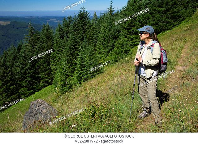 Hiker on High Ridge Trail, Table Rock Wilderness, Salem District Bureau of Land Management, Oregon