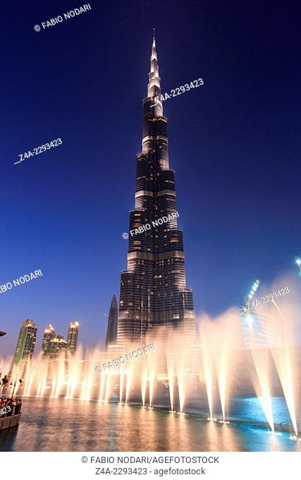One of the world biggest musical fountain, in front of the Burj Khalifa, display just after sunset