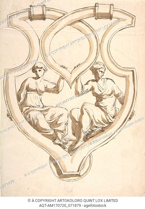 Two Female Figures in Interlaced Cartouche Design for Door Knocker, 19th century, Graphite, brush and brown wash, sheet: 11 1/2 x 8 5/16 in. (29