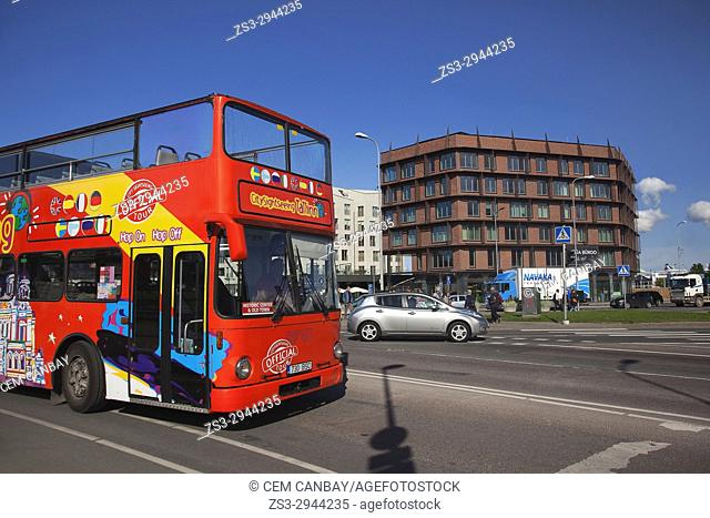 Hop On Hop Off tour bus in the city centre, Tallinn, Estonia, Baltic States, Europe