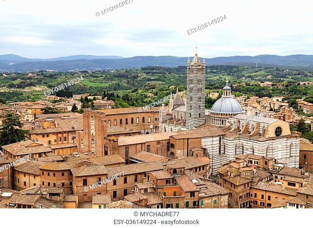 Top view of the Cathedral of Siena, Tuscany in Italy