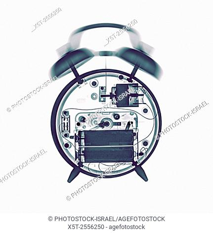 X-ray of a ringing mechanical alarm clock