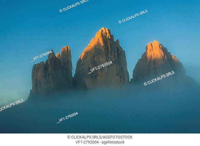 Veneto, fog from the Drei Zinnen, Dolomites, Italy