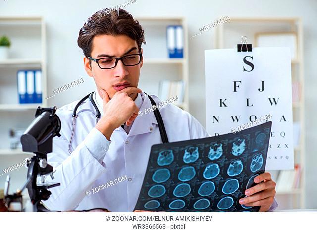 Eye doctor in medical concept