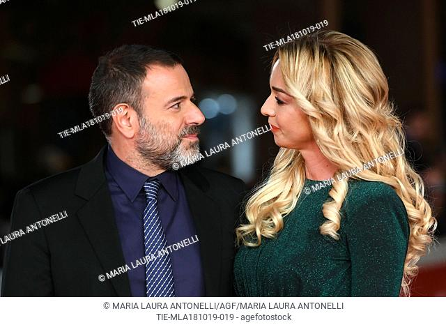 Director Fausto Brizzi and wife Silvia Salis during the red carpet of film Motherless Brooklyn at the 14th Rome Film Festival, Rome, ITALY-17-10-2019