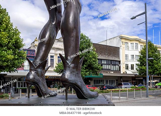 New Zealand, North Island, Hamilton, Riff Raff statue, monument to Rocky Horror Picture Show writer, Richard O'Brien