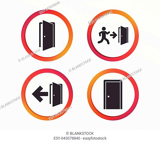 Doors icons. Emergency exit with human figure and arrow symbols. Fire exit signs. Infographic design buttons. Circle templates. Vector