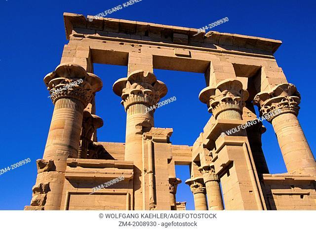EGYPT, ASWAN, NILE RIVER, AGILKIA ISLAND, TEMPLE OF PHILAE, KIOSK OF TRAJAN