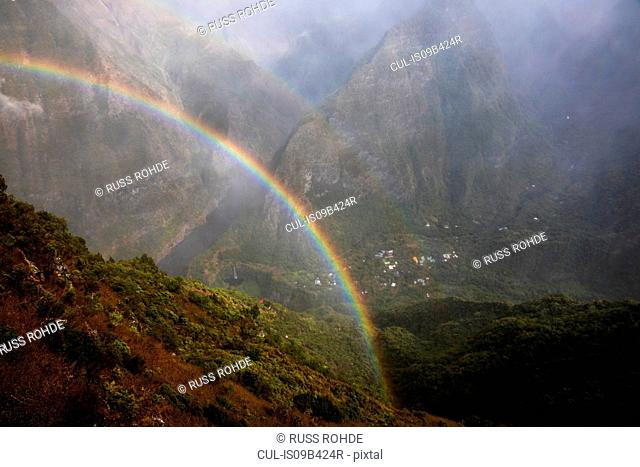 Mountain landscape with mist rainbow, Reunion Island