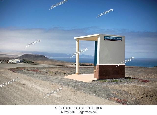 Bus stop, Fuerteventura. Canary Islands. Spain