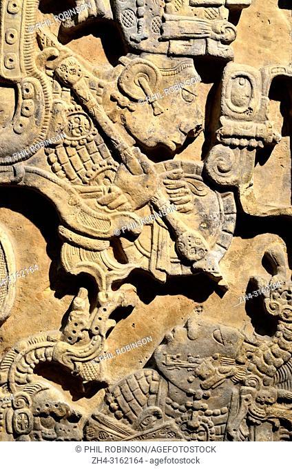 Mayan stone lintel (c770AD) showing Yat-Balam in the guise of a warrior. British Museum, Bloomsbury, London, England, UK