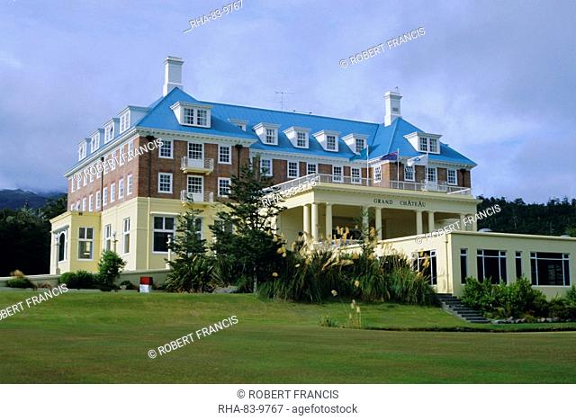 The Grand Chateau, one of the country's best known hotels, Whakapapa village, below Mount Ruapeho, Tongariro National Park, North Island, New Zealand, Pacific