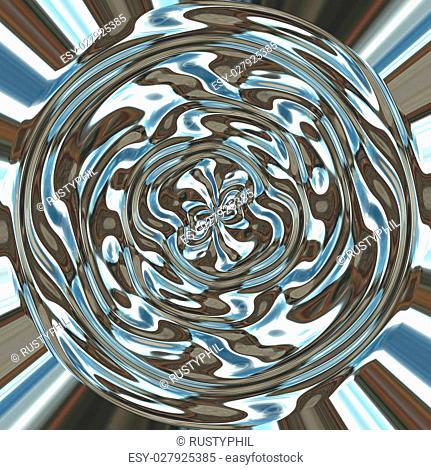 liquid silver or chrome swirls around in a circle