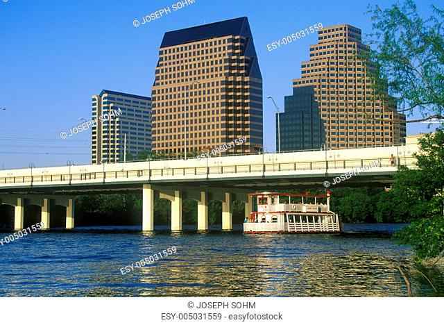 Skyline of Austin, TX, state capitol with Colorado River in foreground