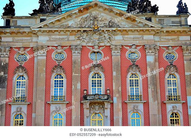 windows and facade of new palace at castle sanssouci, potsdam, germany